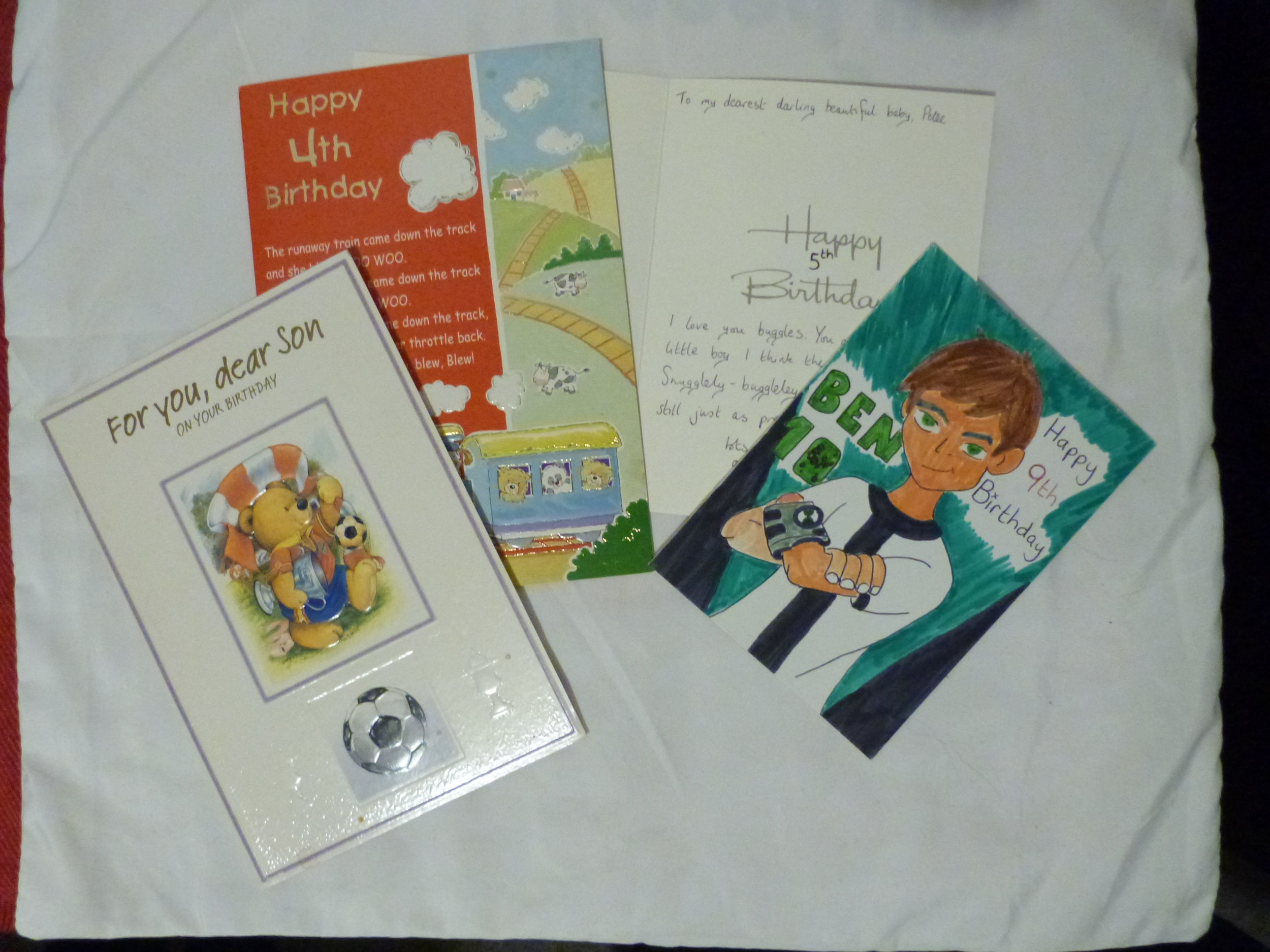 Some of the birthday cards Cookie wrote to Petee while in prison