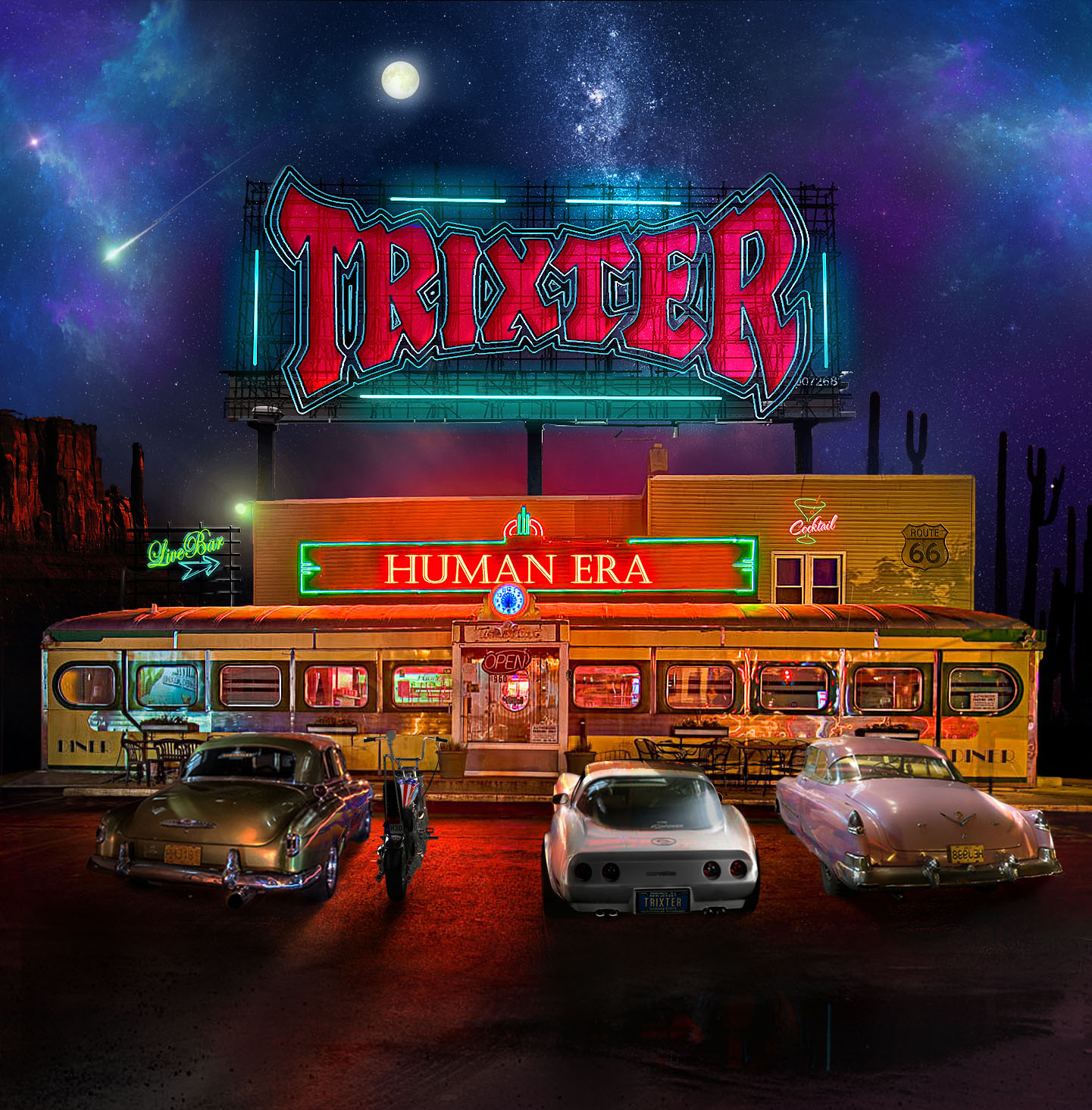 """Trixter – Human Era    I must say, I was pretty excited to pop in Human Era, the latest offering from Trixter…..one of the bands that, in this humble rock writer's opinion just didn't get enough accolades….and still haven't. Sure they were a part of the 2  nd   or maybe 3  rd   wave of bands that fall under the """"glam"""" or """"hair"""" moniker or whatever. I'd hope if Trixter had hit the scene earlier, they'd have the world by the balls… but ya know what? To me they still do, and that's ok. These guys are solid, fun hard rock that goes beyond a scene or look. Don't know what I'm talkin' about? Go grab Human Era and you'll have all the answers you need.    Rockin' To The Edge Of The Night blasts this record off and really sets the tone for whats to follow. Riffy and catchy with a great hook, you'll be rollin' down the windows and wishing it was Friday night already. The 2  nd   song, Crash That Party completes this album's opening 1-2 punch and completely grabs you by the throat. """"You WILL listen to this record!"""" it says, as it shakes you and stares you down. Beats Me Up and Every Second Counts are additional standouts on this record… the musicianship on all fronts has stepped up… Pete Loran has never sounded stronger, Mark """"Gus"""" Scott is laying down some powerful double bass, and Steve Brown and PJ Farley are riffing, weaving and interlocking each other's fretboards to the umpteenth degree.    Trixter have really tapped into their audience with Human Era. Sure, we are older and for a lot of us, it's not about ragin' and partying 24/7 anymore. Relationships, work, money, counting down to the weekend are what's going on nowadays, and it's awesome to put on a song like """"Good Times Now"""" or """"Human Era"""" and feel like it was written just for you and what you're going through. This along with the insane solos and hooks make Human Era an instant favorite, and an album I could use as a calling card if you will for what's going on these days. Please support this record, and catch a li"""