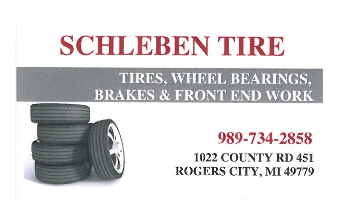 Schleben Tire - 1022 County Road 451Rogers City, MI 49779(989) 734-2858