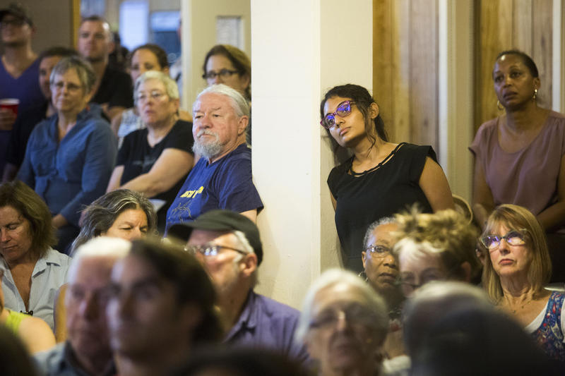 Residents listen to Mayor Steve Adler and others talk about CodeNEXT at a packed meeting of the Bouldin Creek Neighborhood Association on Tuesday.  KUT 90.5 - August 10, 2017