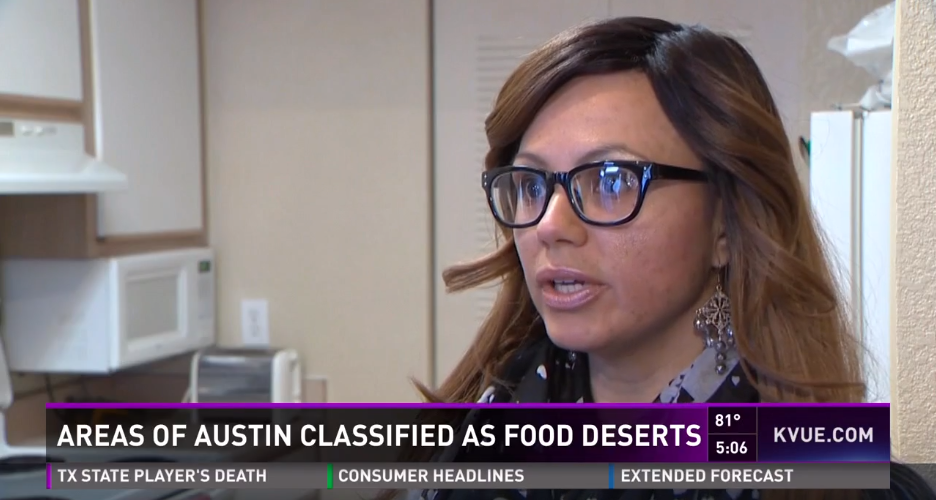 GAVA Resident Leader and Advisory Council Member Evita Cruz speaking about food access issues in her neighborhood.  KVUE - March 3, 2016