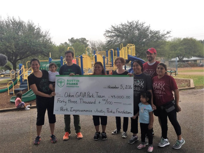 In 2016, Odom's GAVA Park Team received funding from Austin Parks Foundation to improve their park.