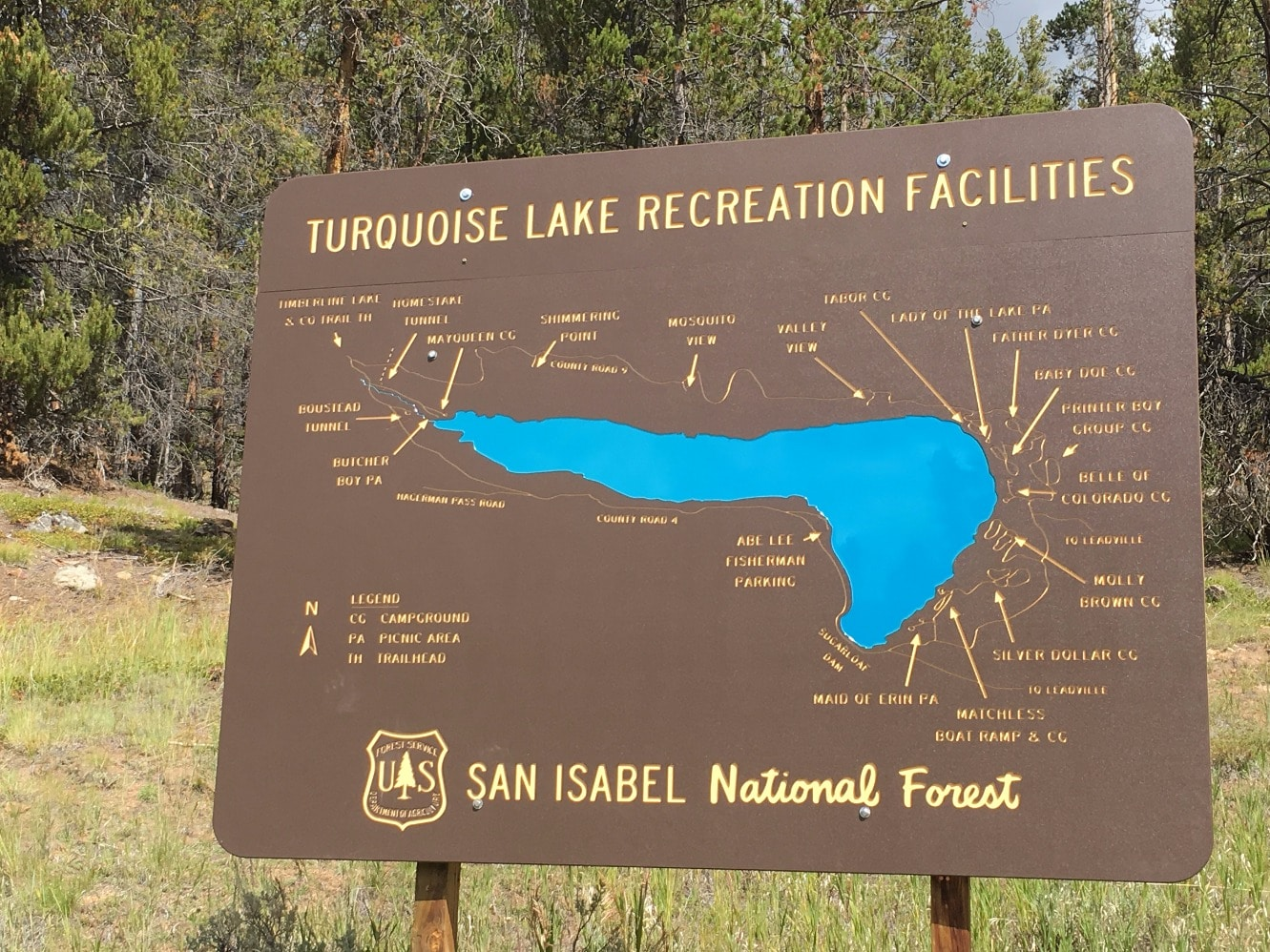 Turquoise Lake Area Map - Click to enlarge