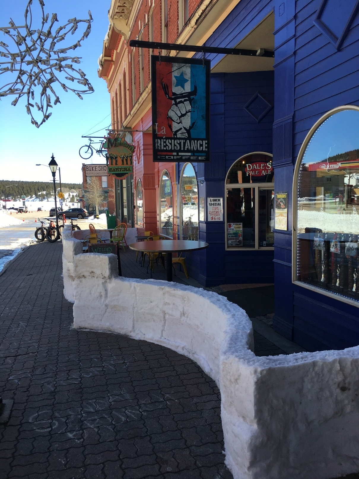 Snow fence at La Resistance Coffee Shop