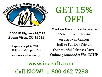 Colorado Vacation Coupons - Wilderness Aware Rafting Buena Vista