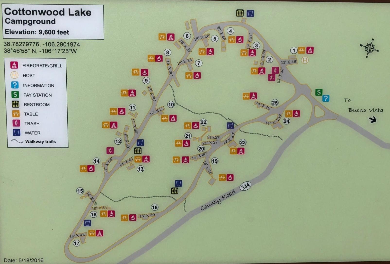 Cottonwood lake campground map