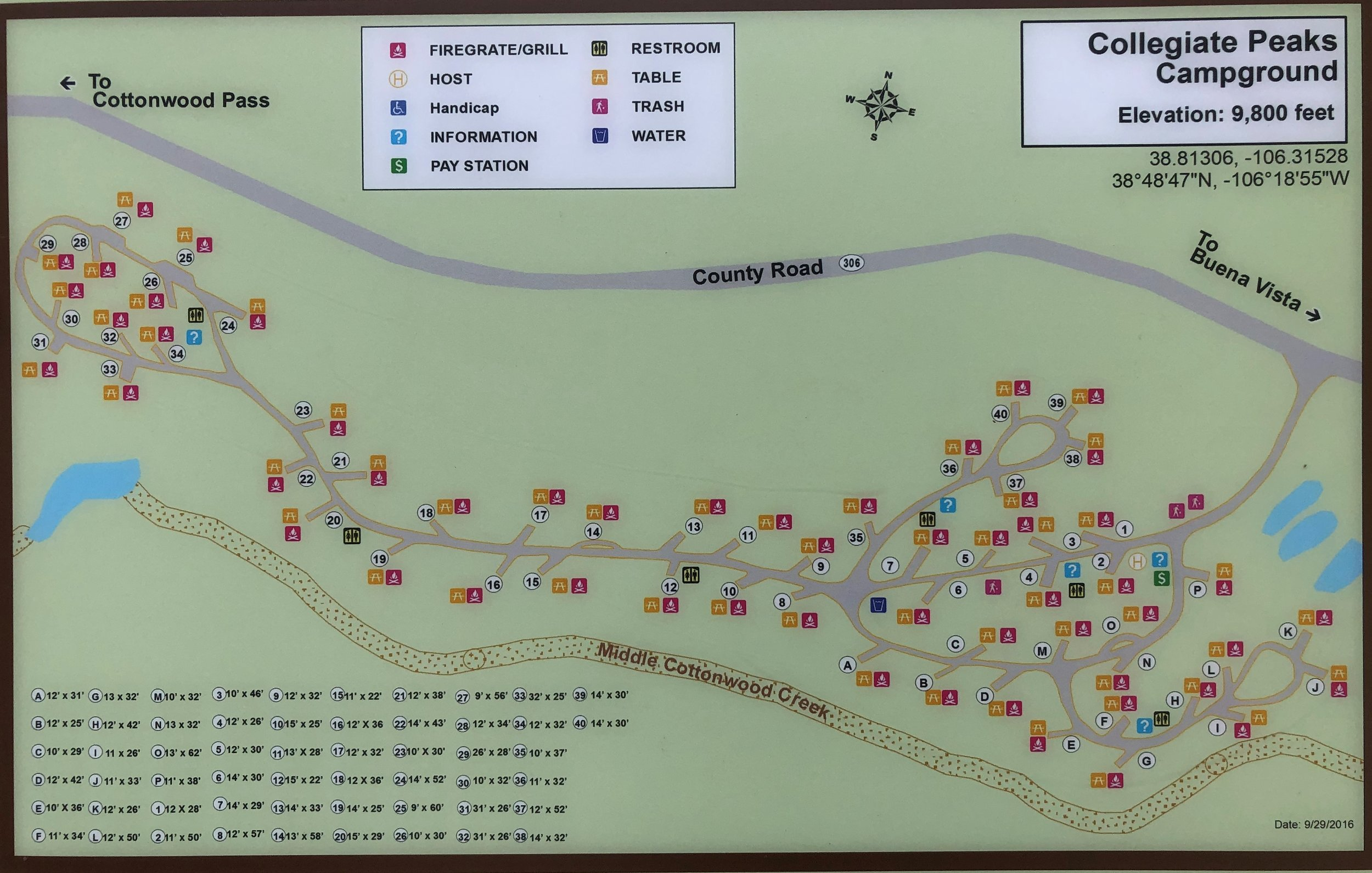 Collegiate Peaks campground map - Click to enlarge
