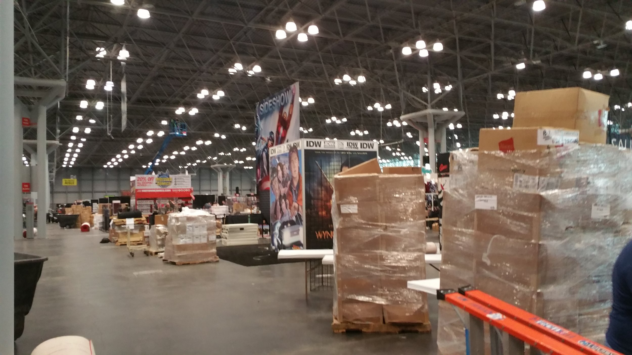 Booth materials loaded into place.