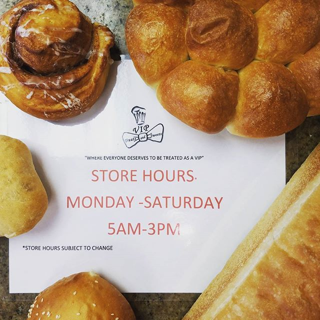 We are now open Monday through Saturday 5am to 3pm! We are located in the safeway shopping center between the UPS store and Pho Kitchen. Stop by and enjoy some of our delicious fresh baked goods! Only at VIP Treats and Sweets!! #baking #homebaking #bakingtime #ilovebaking #eatlocal #kauaigrinds #kauaifood #freshbaked #treats #sweets #food #foodporn #instafood #foodie #healthyfood #foodgasm #foodstagram