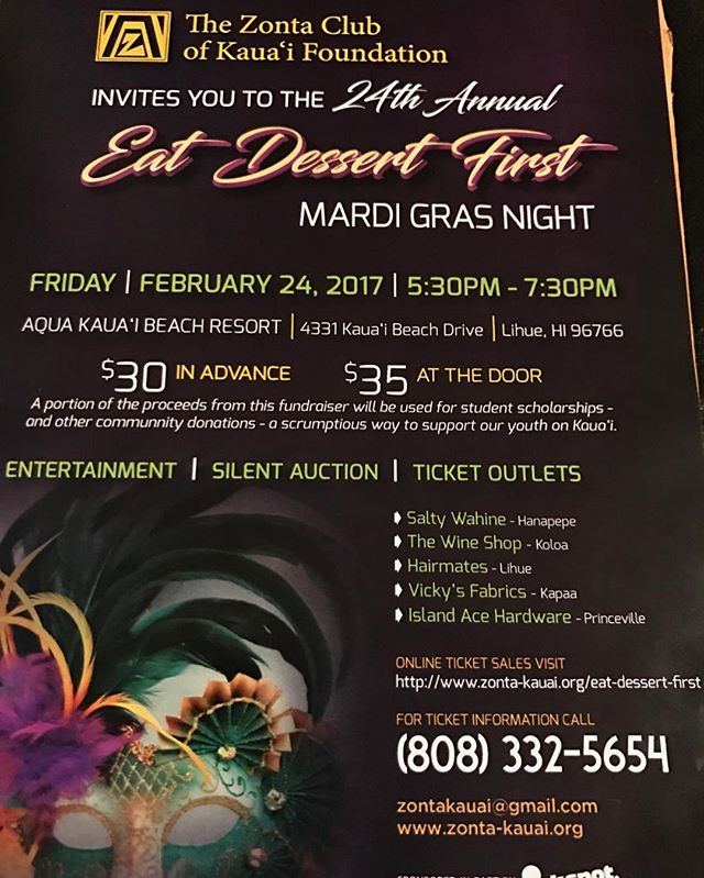 Possible open date for our bakery won't be until late February or early March, but we will be at the Eat Dessert First fundraiser! Take a break to eat some delicious goodies on February 24, 2017 from 5:30-7:30pm at the Aqua Kauai Beach Resort. #viptreatsandsweets #vip #bakedgoods #desserts #eatdessertfirst #zonta #zontaclub #fundraiser #women #kauai #kauaibeachresort #ladiesnight #eatlocal #instabake #localeats #kapaa