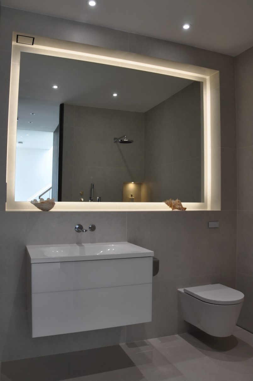 Hidden lighting add an element of luxury to the bathroom
