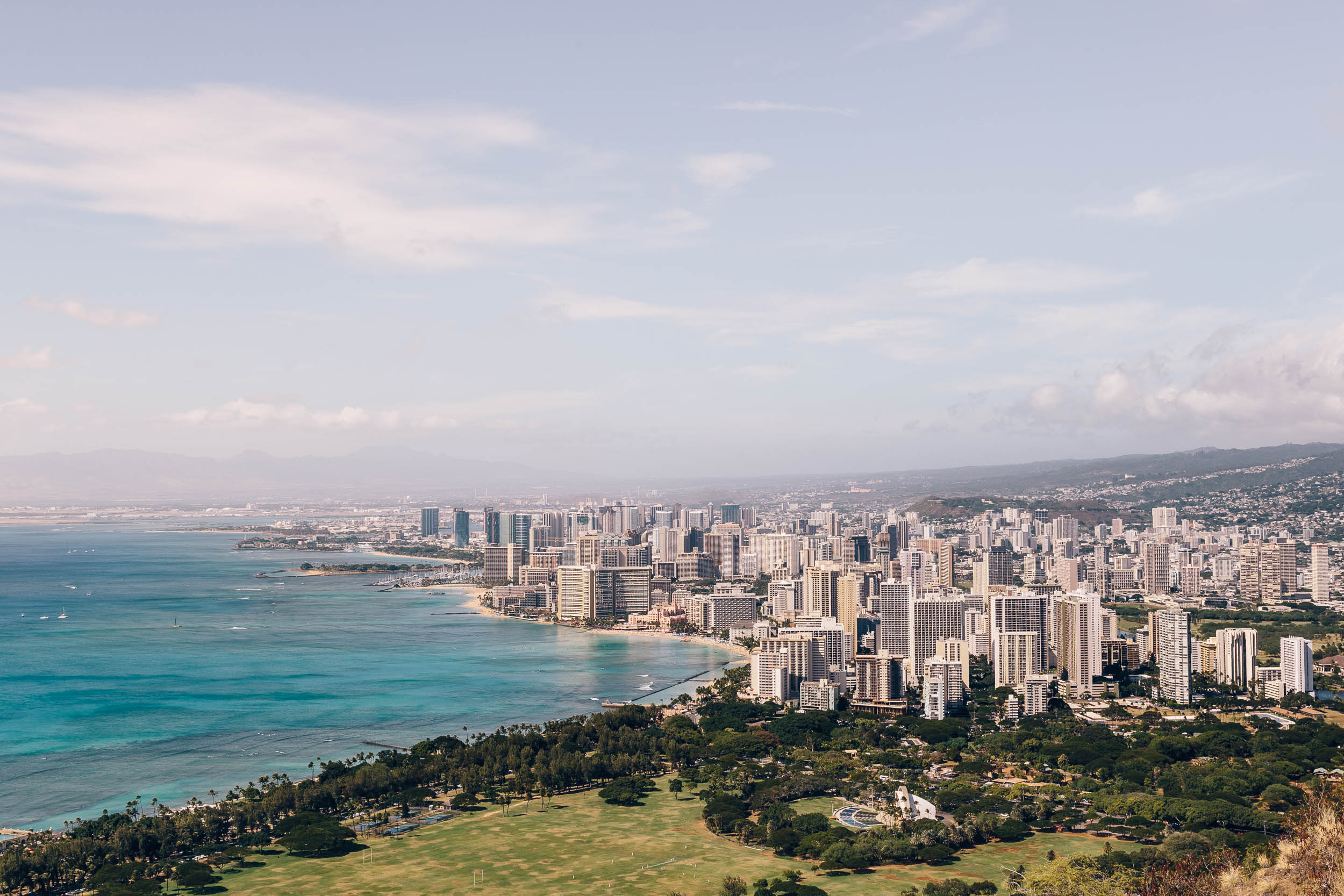 view from the top of diamond head crater trail | Oahu hawaii
