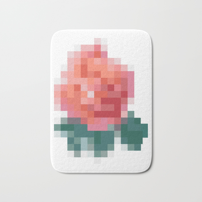 pixel rose bath mats