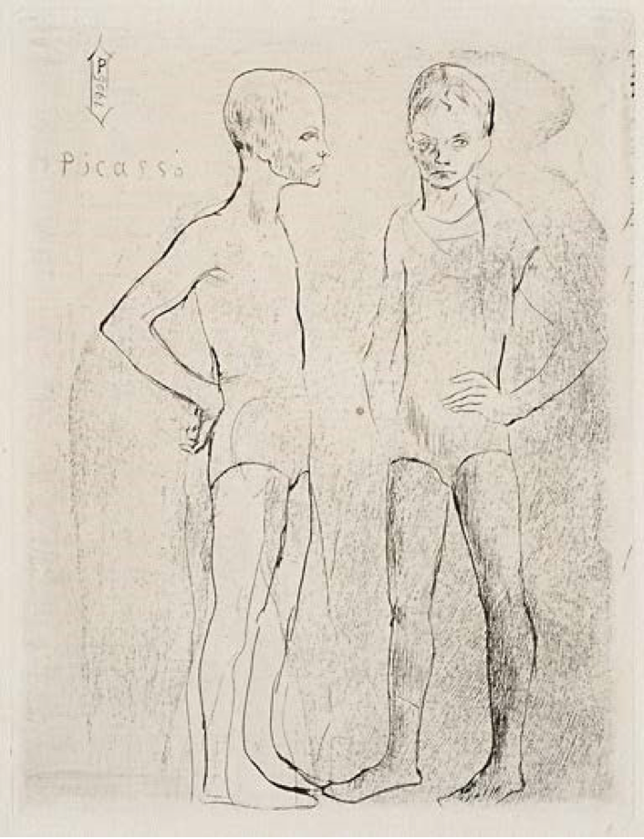 Les Duex Saltimbanques (Bl. 5). 1905   Drypoint 4 5/8 x 3 3/8 inches