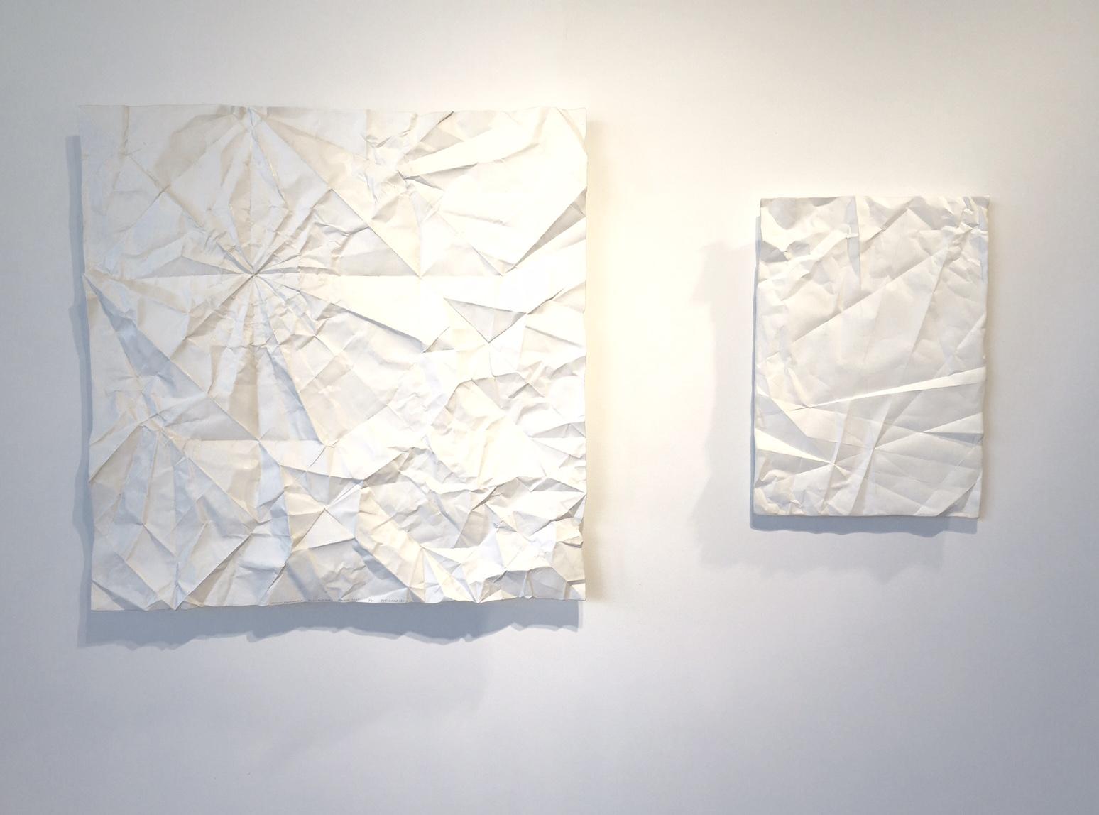 Crane Unfolded, Phoenix Rising (Left) – 48 x 48 x 3 – Painted Cast Aluminum    Sagrada Familia (Right) – 22 x 29 x 2 – Painted Cast Aluminum