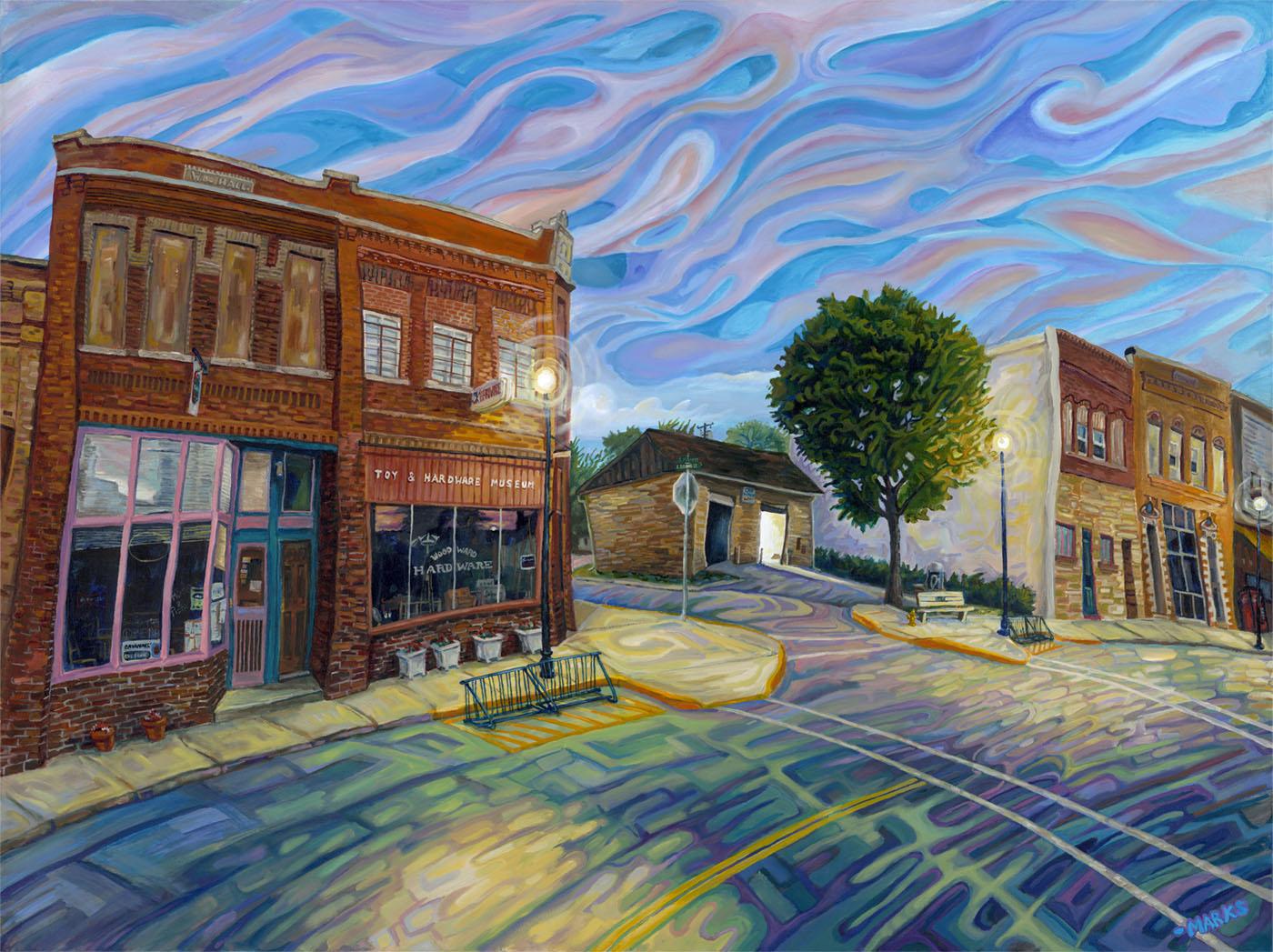Woodward Dusk - 48 x 36 - Acrylic on Canvas $5,500