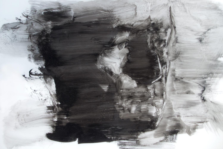Head Study (Wipe) - 6 x 10 - Ink on Mylar $500