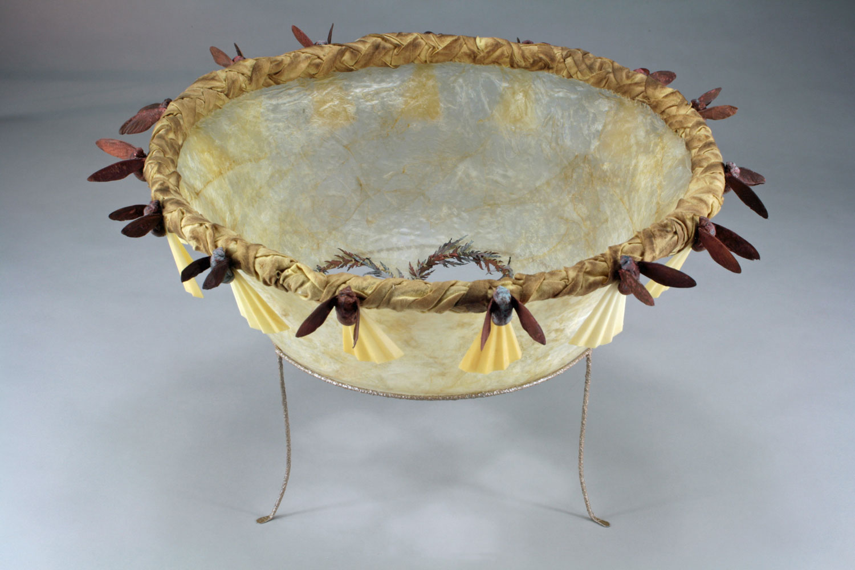 Halo - 12 x 19 x 19 - Gut, Steel, Copper Electroformed Cicada Shells, Leaves, Plastic Thread, Found Fabric, Wax   $900