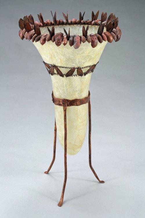 Chorus - 16 x 8.5 x 8.5 - Gut (Hog), Copper Electroformed Cicada Shells, Thread, Resin, Wax   $900