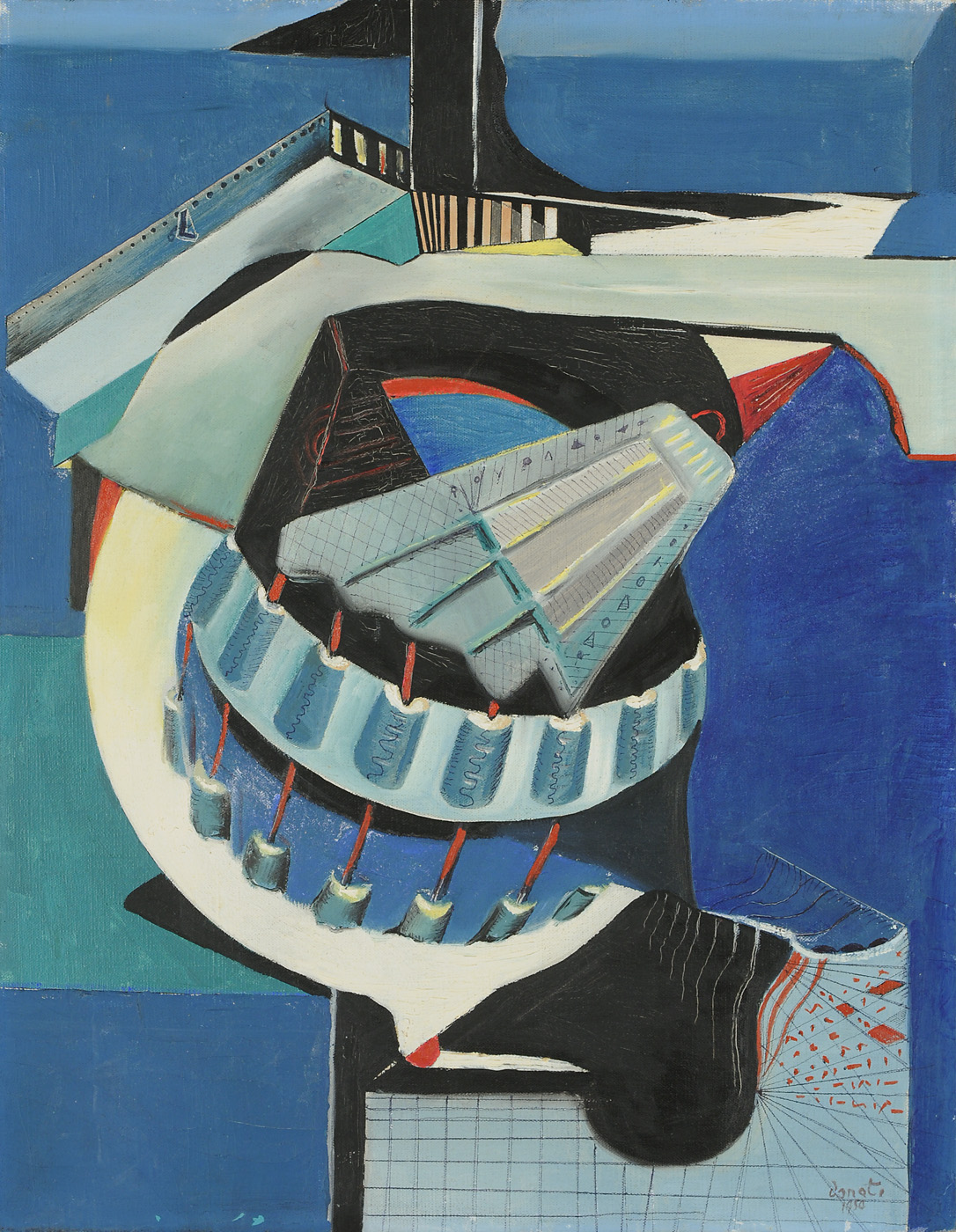 Enrico Donati  Chimes and the Turning Hammers  Oil on canvas 1950