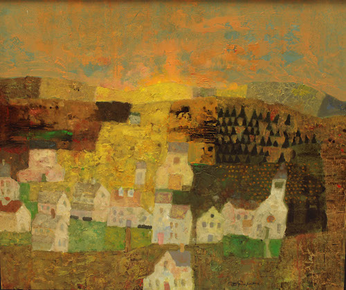 Farm Village, Mixed media on panel,21 x 24,$8500