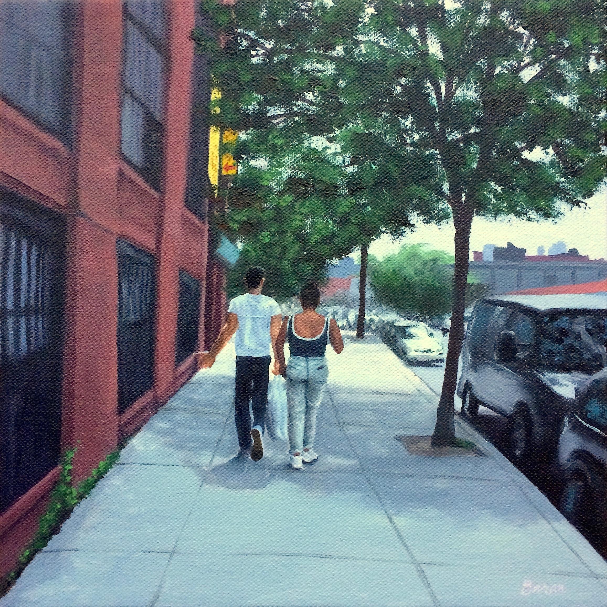 Laura Baran,  Summer Sidewalk , oil on canvas, 12 x 12, $500