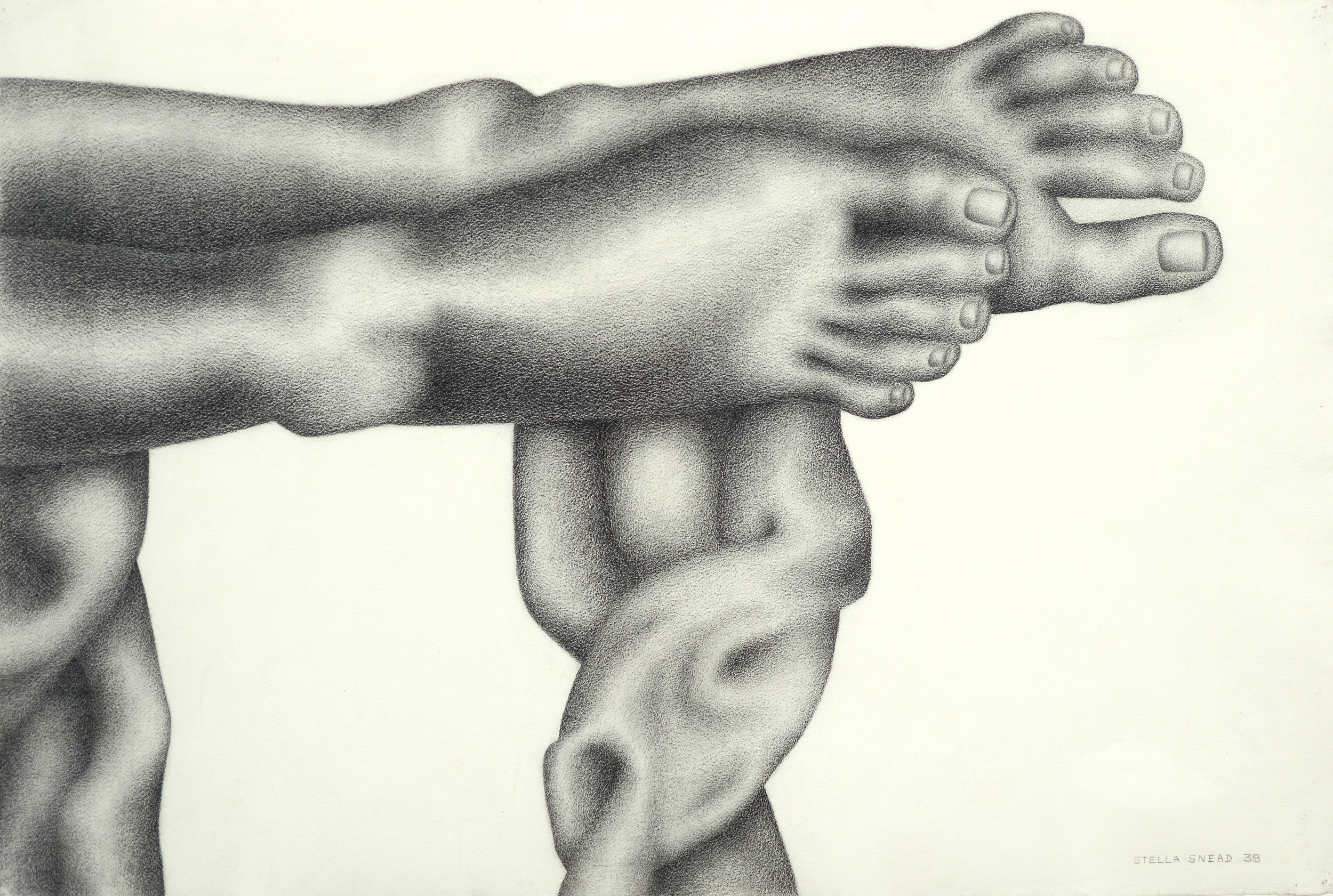 Feet , charcoal on paper, 32.5 x 45.5