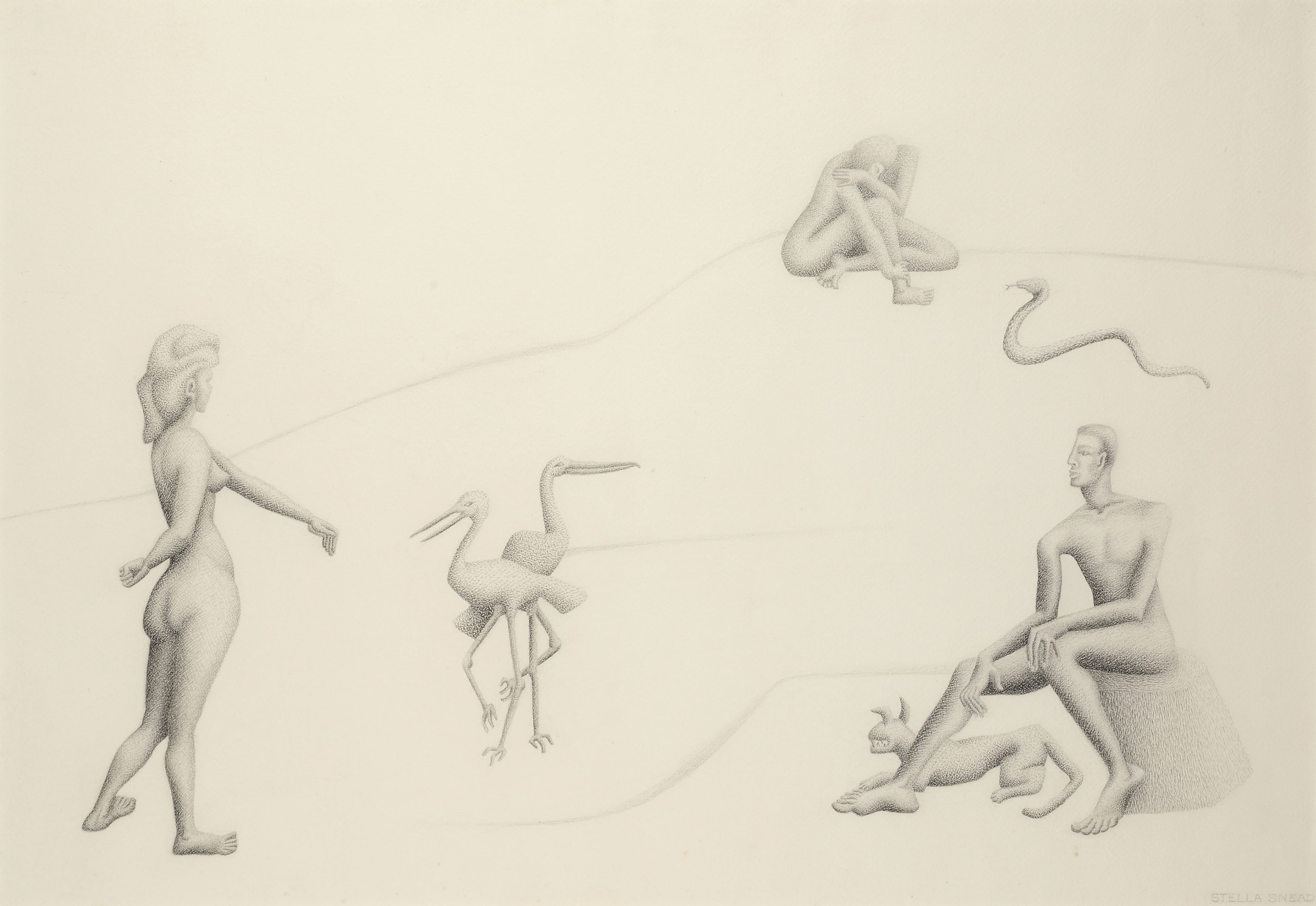 Untitled (figures with animals) , charcoal and pencil on paper, 27 x 36