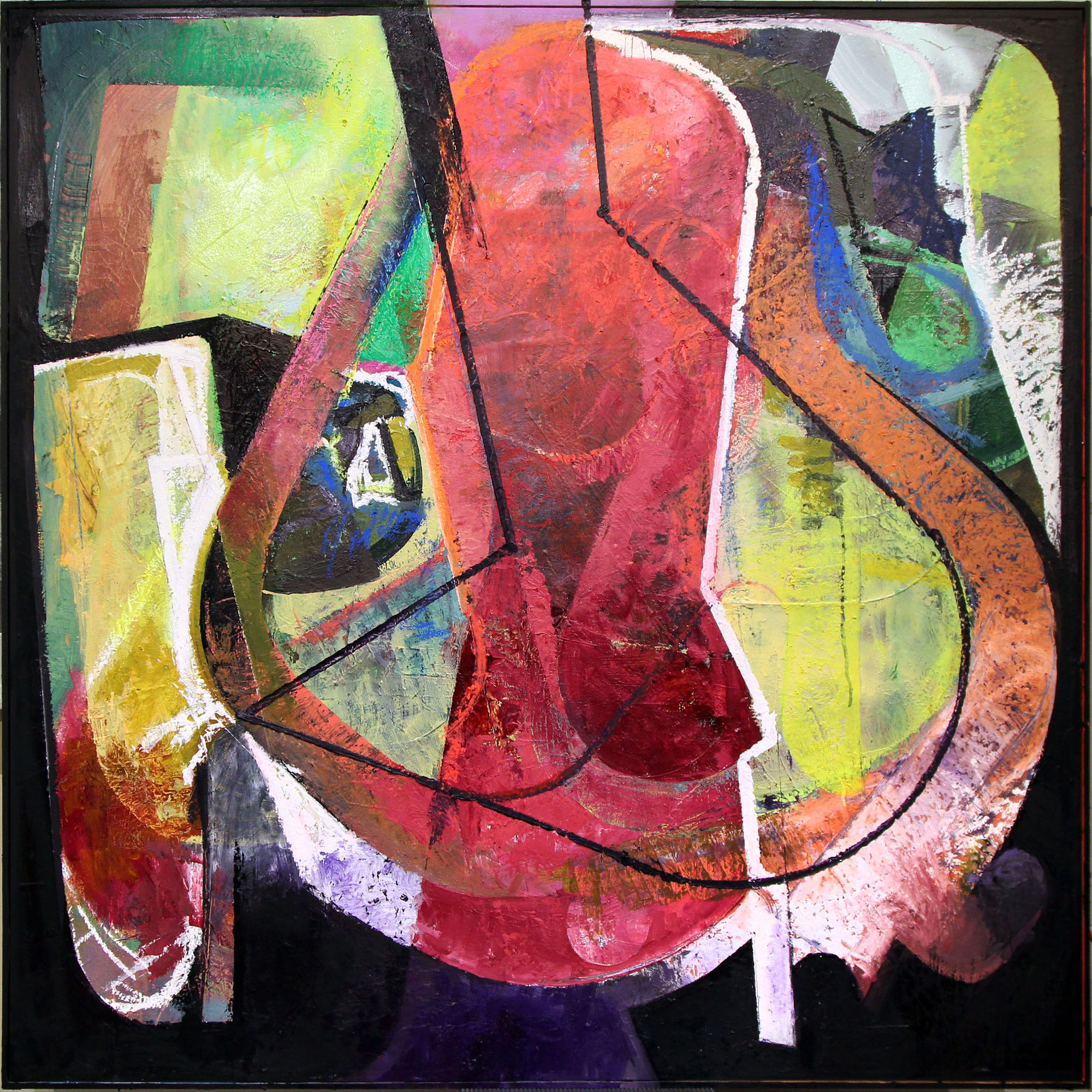 Strange Pas de Deux,  Mixed media on panel, 48 x 48, $2,400