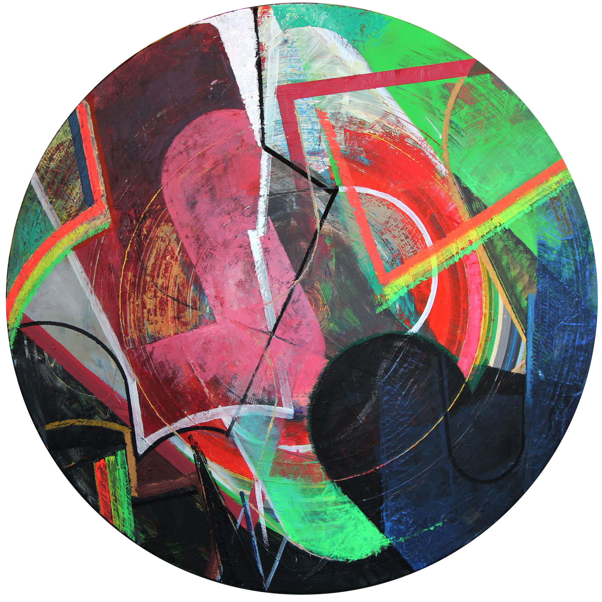"Bulb Chuck,  Mixed media on panel, 36"" diameter, $1,750"