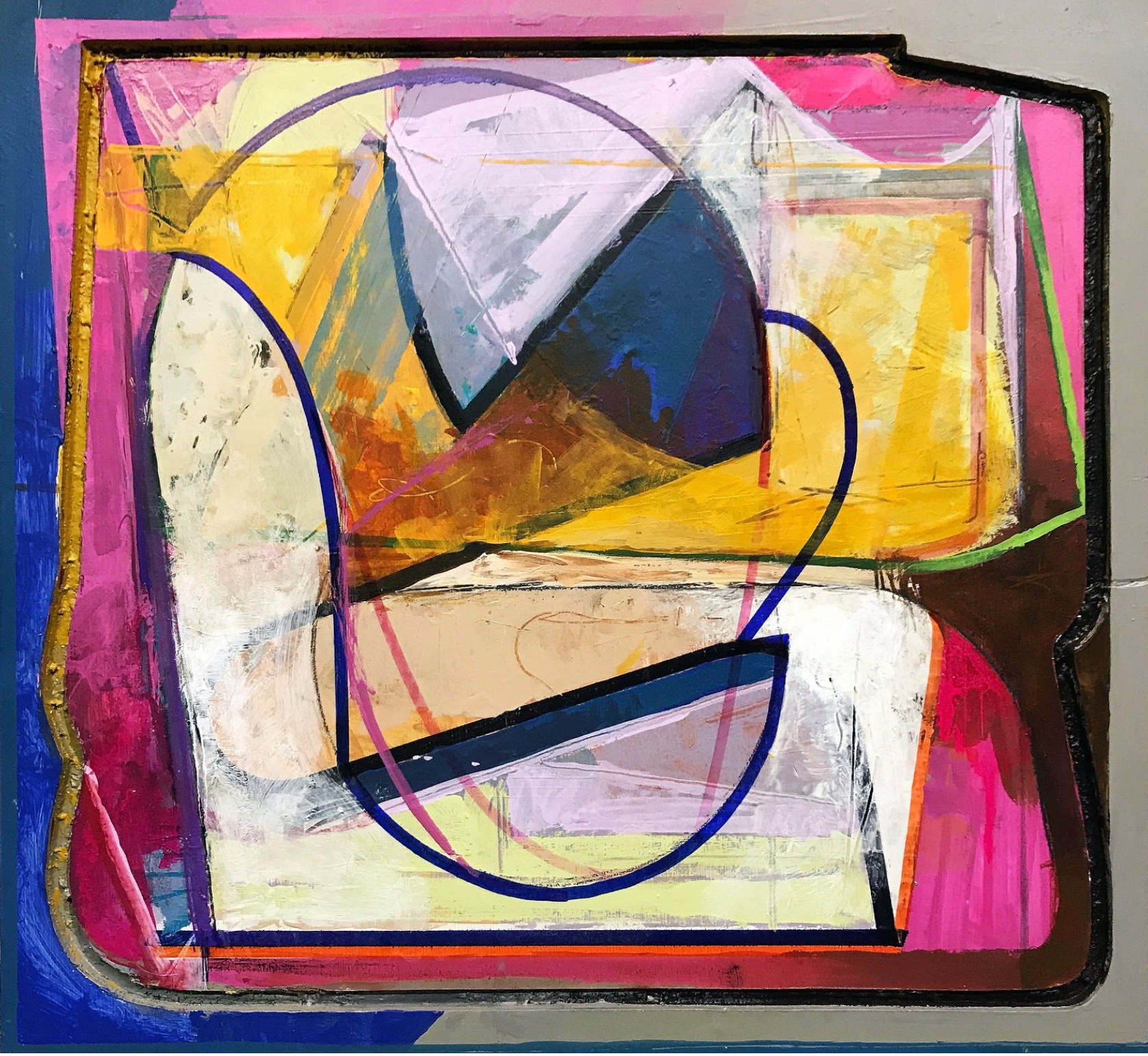 A La Lutes,  Mixed media on panel, 17.5 x 19, $800