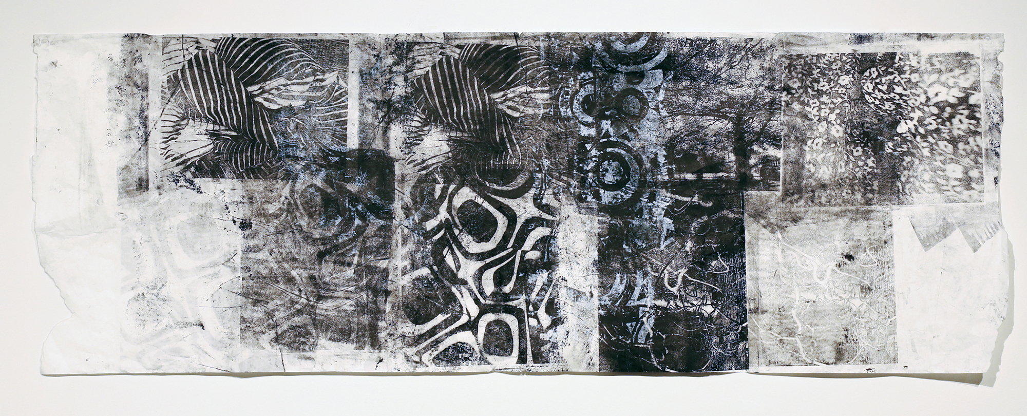 October G ,Monoprint on rice paper and fabric,17 x 42,$400