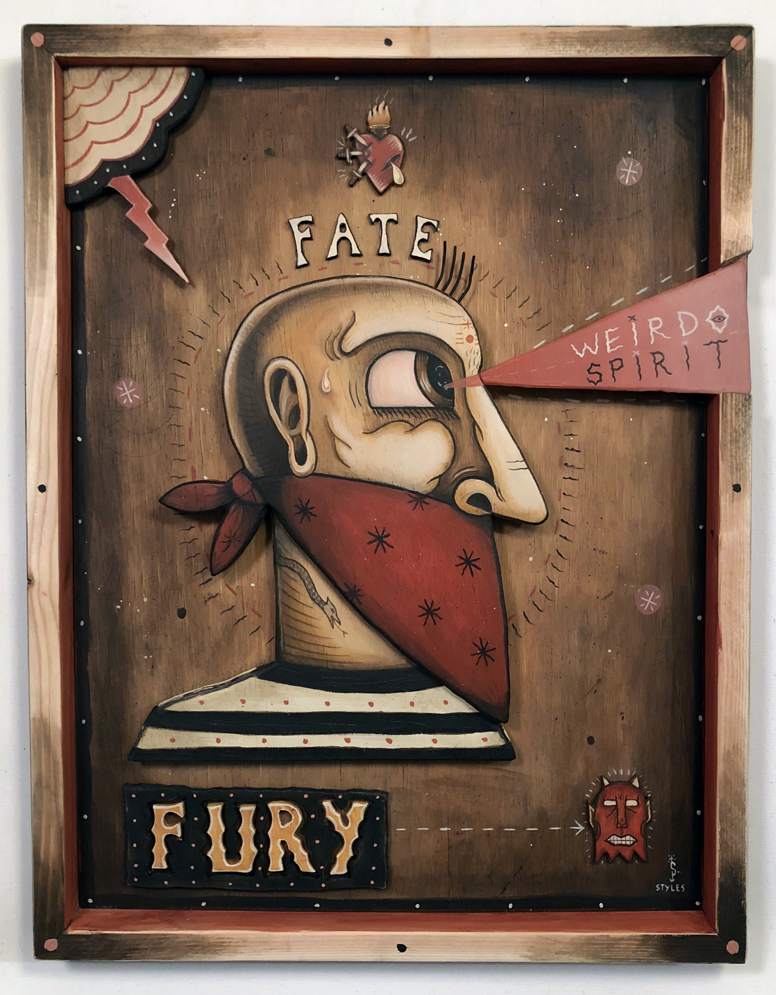Through Fate and Fury,  Acrylic on wood cutout, 21.5 x 16.5, $2,000