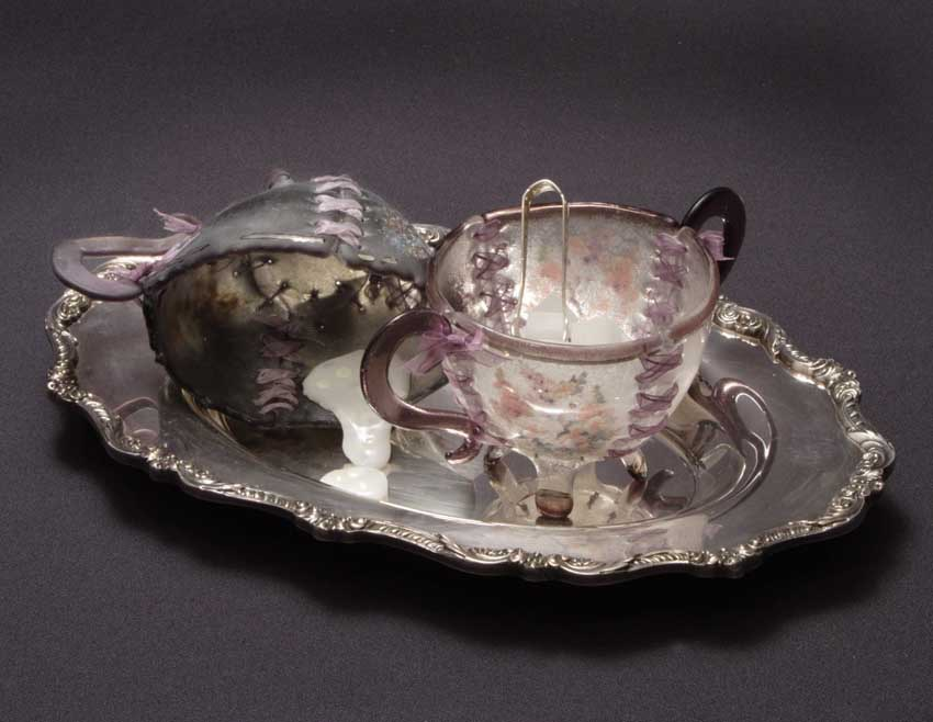 "Susan Taylor Glasgow, "" Sweetness Remains"" Sugar/Creamer on tray,  Glass and mixed media, 4 x 10 x 6, $4,200"