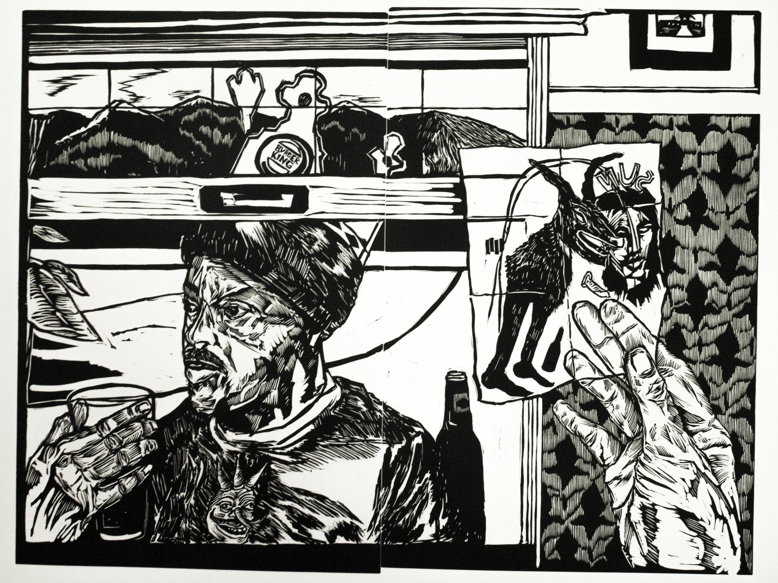 Emmett Merrill,  What'd I Do? , Relief print, 22 x 30, $250
