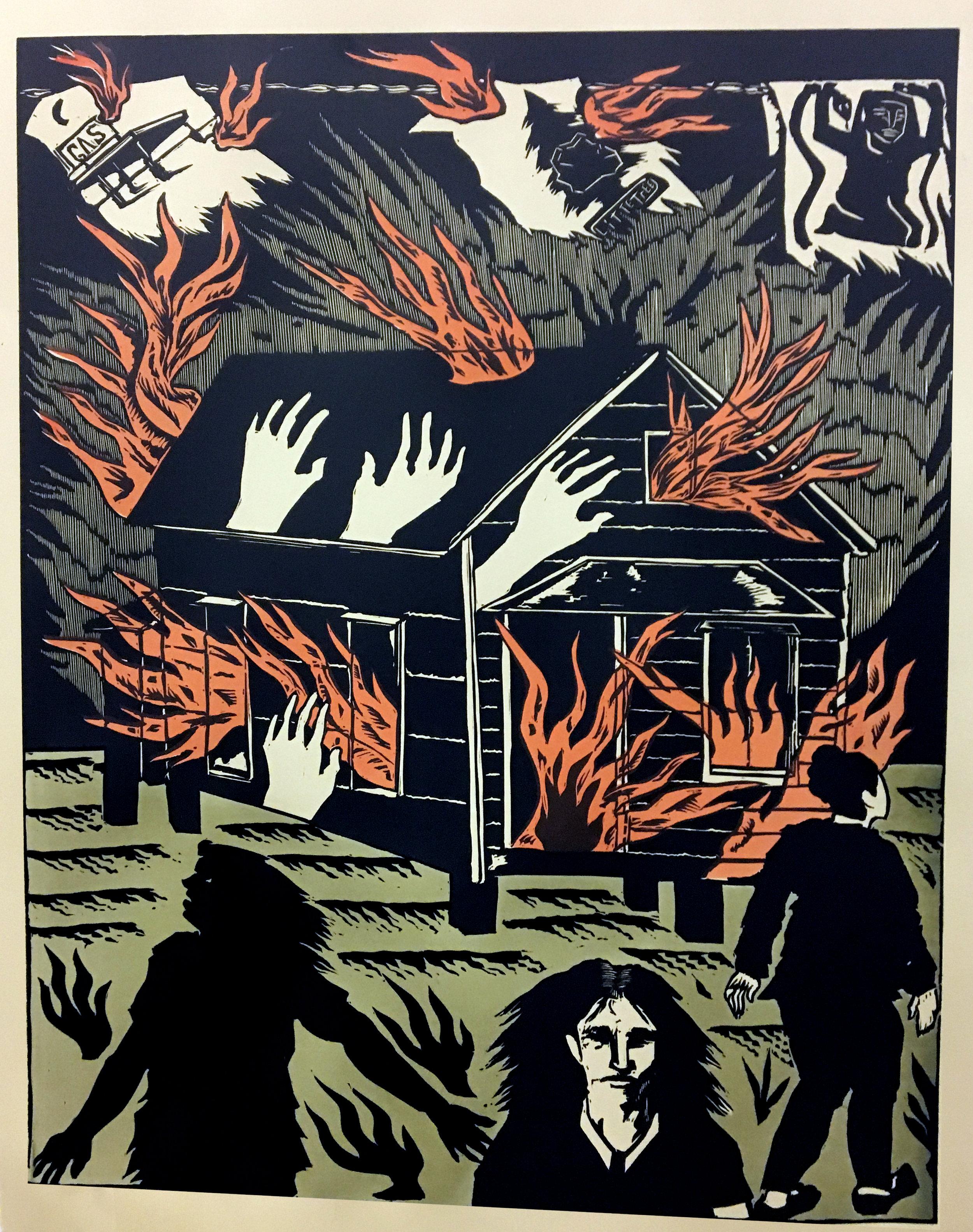 Emmett Merrill,  The Fire,  Relief print, 28 x 22, $350