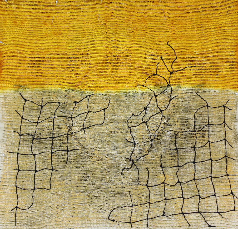 Threshold,  Handwoven ondulé in silk with netting, 24 x 24, $1000