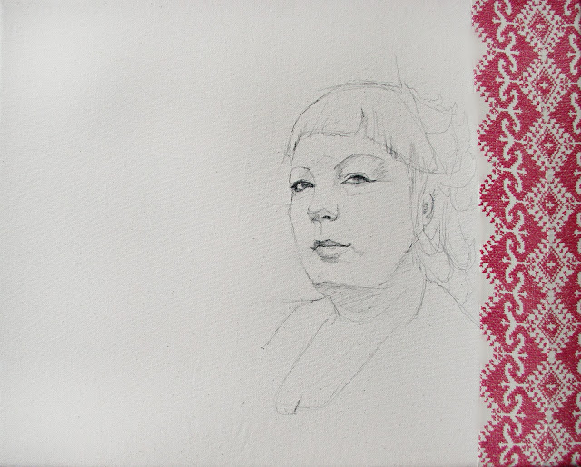 Stephanie Clark,  Michelle , Embroidery and graphite, 16 x 20, $400