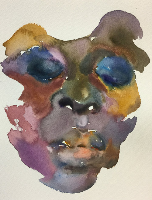 Shanlin Ye,  Mask #26 , Watercolor on paper, 15 x 11, $1,200