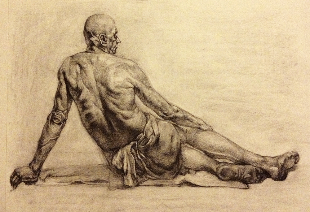 Mastercopy, Anatomy Study. 2013. Charcoal on paper.