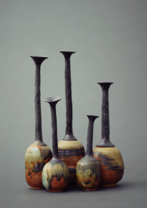 """Familia"" (Family). Anagama-fired stoneware vessels. By Rafael J. CaNizares-Yunez. Collection of the artist."