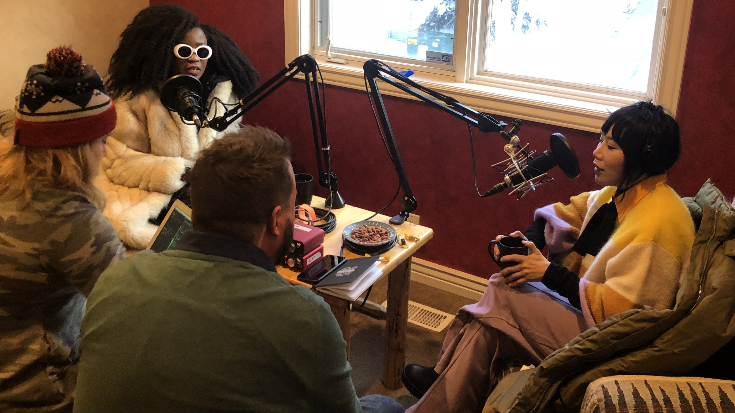 The MIQ team recording with Vivian Bang and Nana Ghana at Sundance in Park City, UT