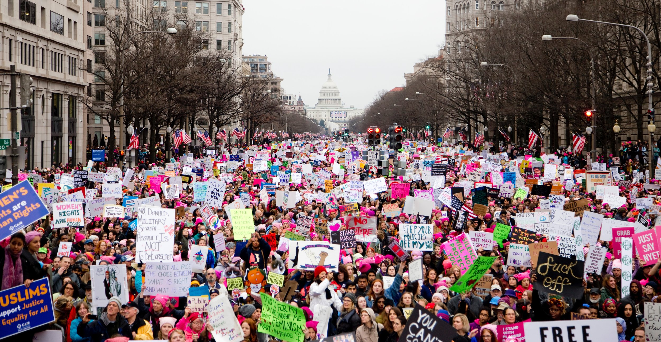 """Rachel Virginia Hester writes, """"This minimizing of different women's experiences that doesn't excite me about efforts like the Women's March or the Time's Up movement."""" Above: The Women's March on Washington, January 2017.Photo by  Vlad Tchompalov on  Unsplash ."""