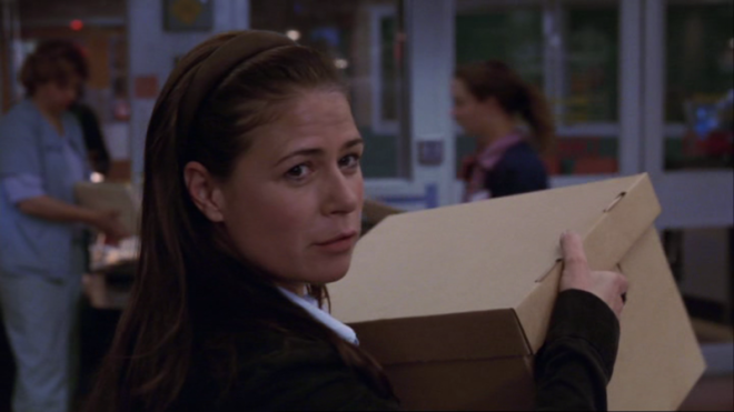 "Abby Lockhart (Maura Tierney) packs up her belongings in ""The Book of Abby ."""