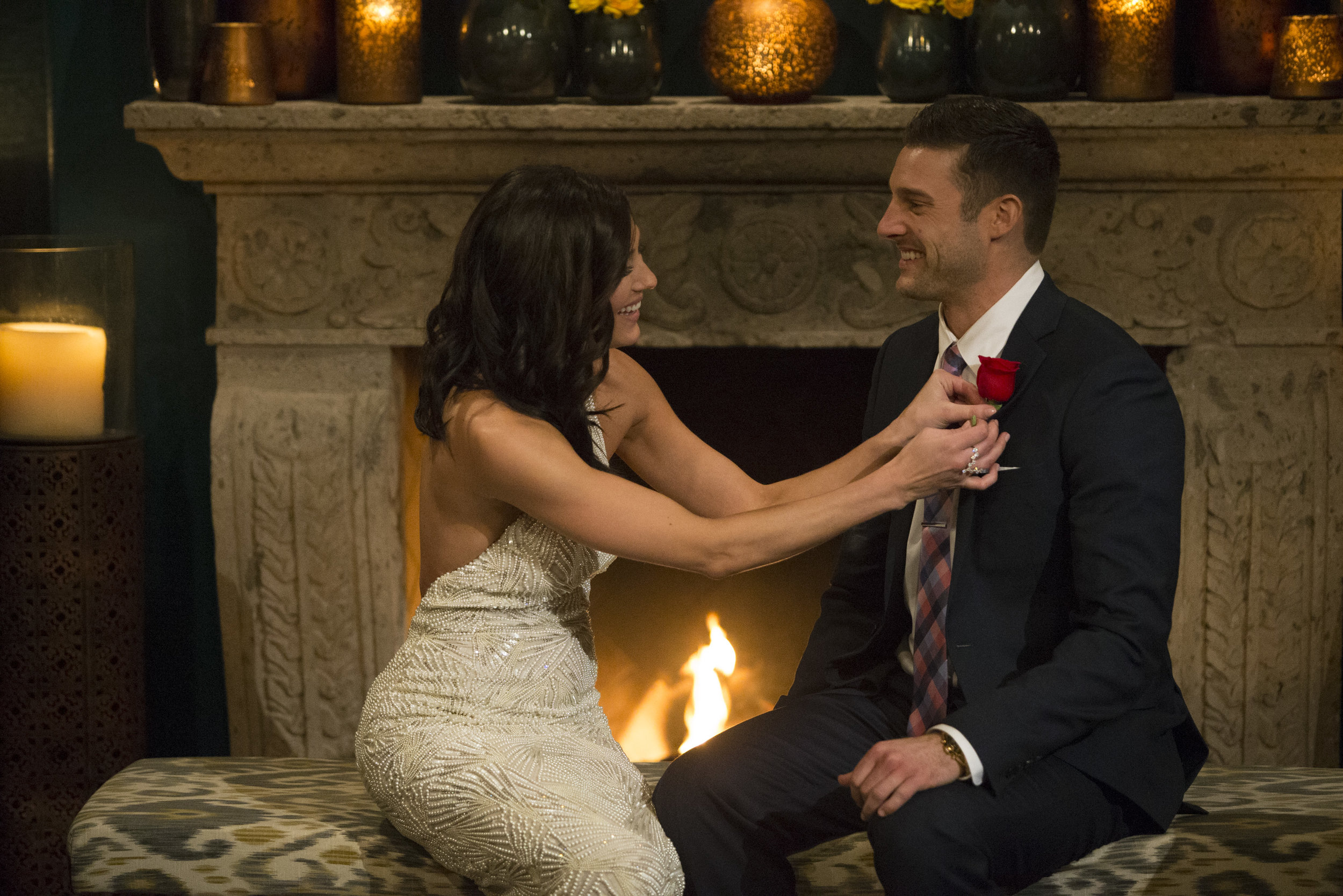 Bachelorette Becca Kufrin gives contestant Garrett Yrigoyen the First Impression rose. She's a Hillary supporter, he's secretly a racist bigot; what could go wrong? (ABC/Paul Hebert)