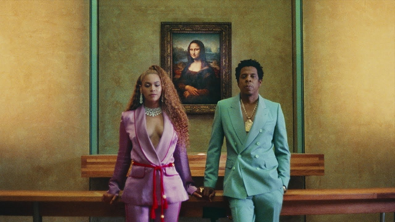 "Beyoncé and Jay Z in the music video for ""Apeshit,"" the lead single off their joint album,  Everything Is Love."