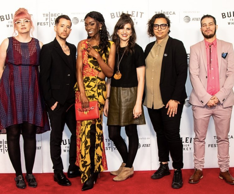 Members of our Framing Agnes cast and crew on the Tribeca red carpet. L to R: Kristen Schilt, Chase Joynt, Angelica Ross, Samantha Curley, Becky Gebhardt and AJ Russo.
