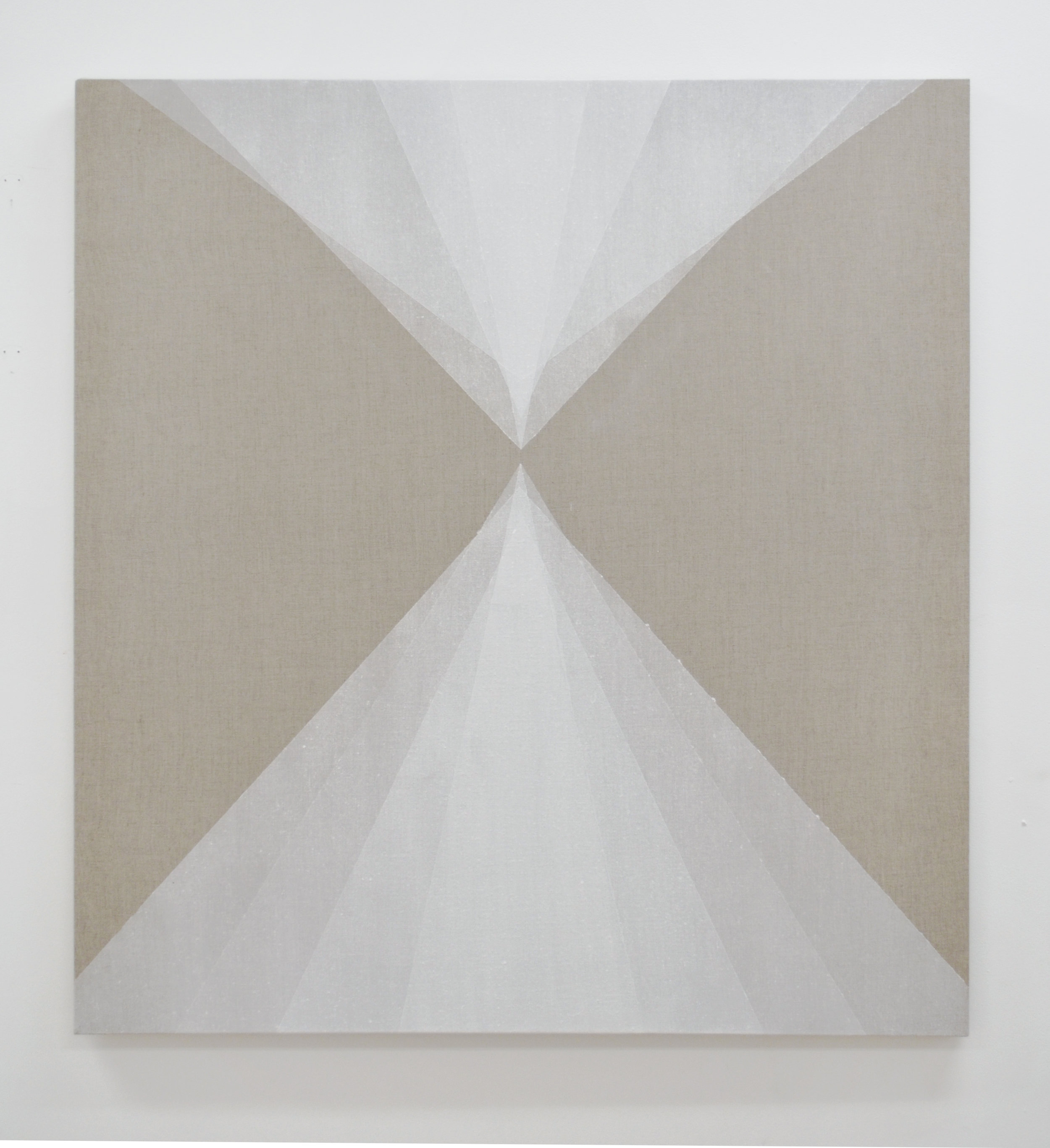 "Convergence,  2014, quartz powder on linen, 36"" x 33"""