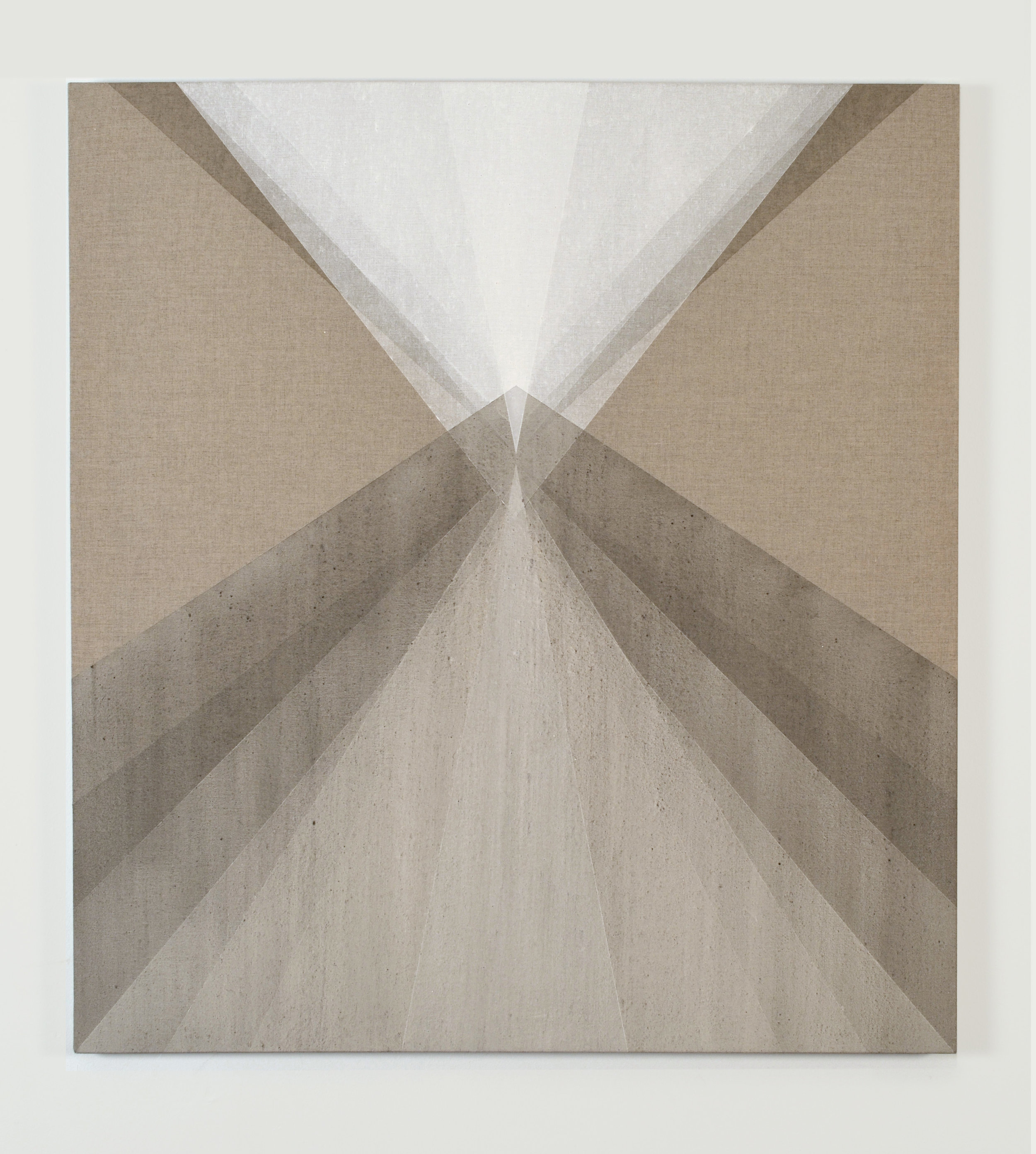 "Cumulate , 2014, ash and quartz powder on linen, 36"" x 33"""