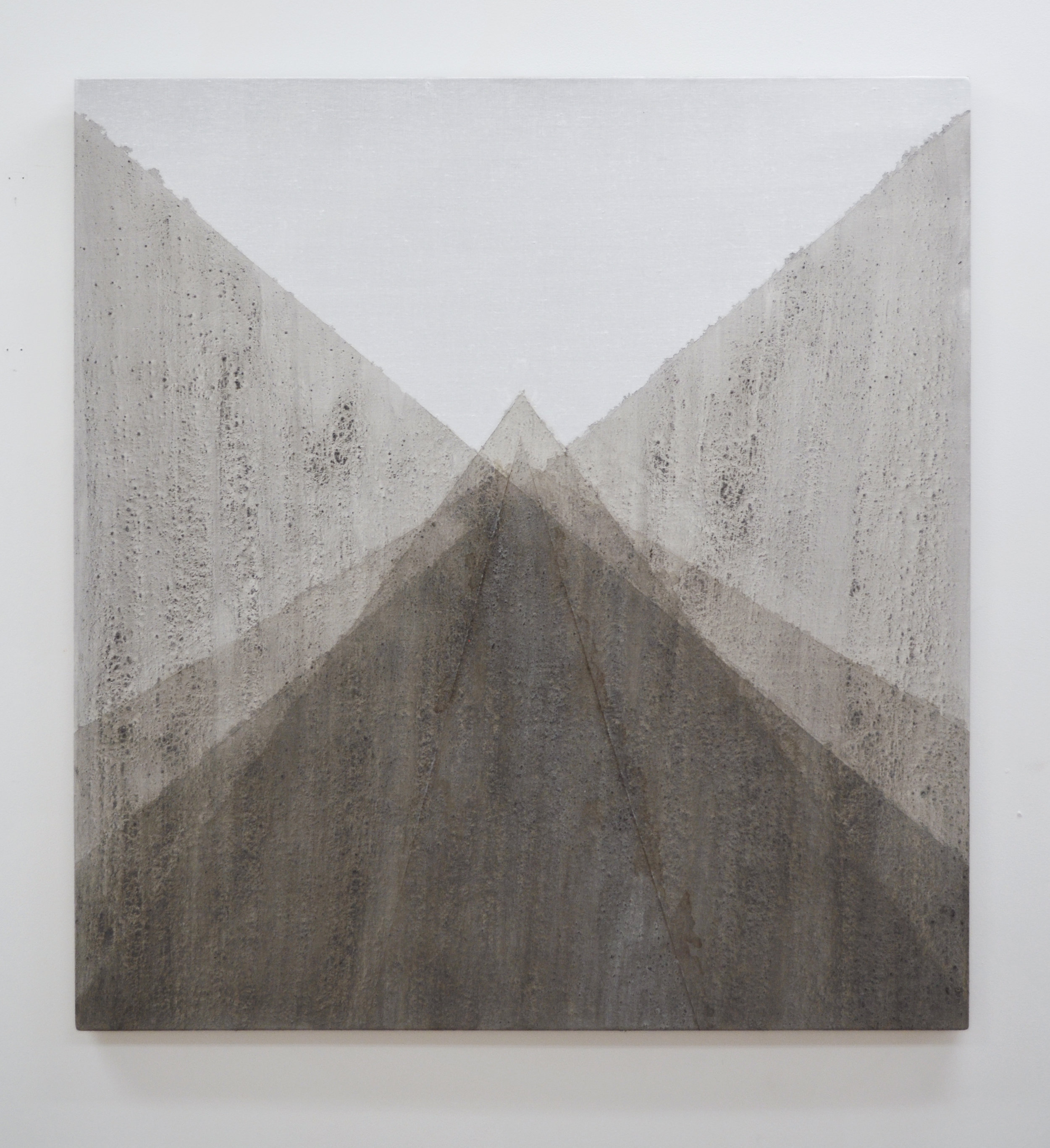 "Succession , 2014, ash and quartz powder on linen, 36"" x 33"""